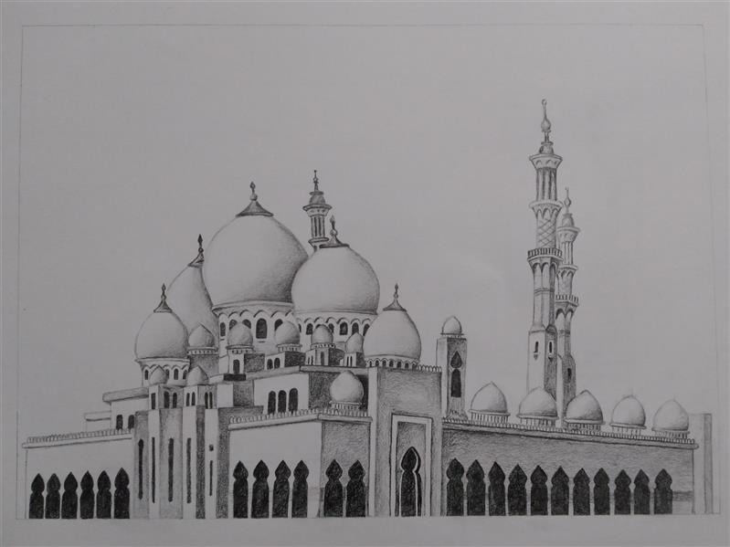 هنر نقاشی و گرافیک محفل نقاشی و گرافیک نیره فتحی #سیاه_قلم مسجد نیره فتحی آبان۱۳۹۹