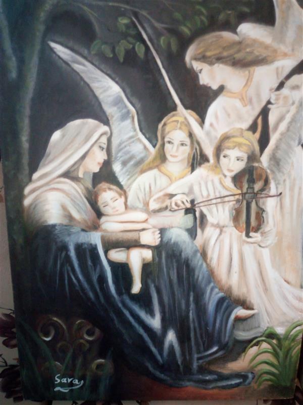 هنر نقاشی و گرافیک محفل نقاشی و گرافیک سارا رشیدی تابلو مریم و فرشتگان ، اثر رنگ روغن