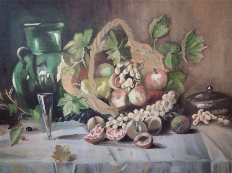 هنر نقاشی و گرافیک محفل نقاشی و گرافیک سارا رشیدی تابلو سبد میوه ، اثر رنگ روغن