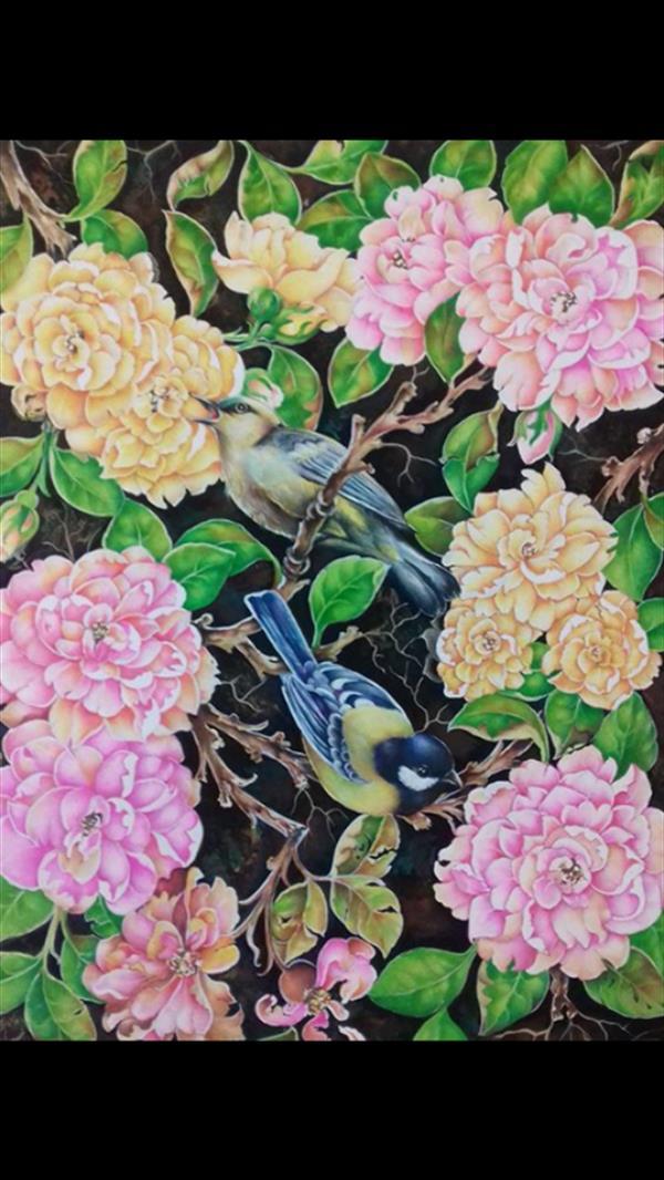 هنر نقاشی و گرافیک محفل نقاشی و گرافیک فاطمه اسدی گل ومرغ اثر از: فاطمه اسدی