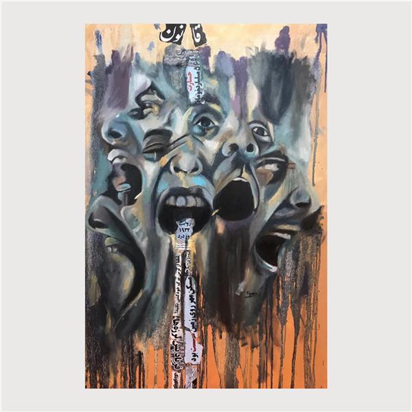 هنر نقاشی و گرافیک محفل نقاشی و گرافیک کیانا شریفی موضوع قانون رنگ و روغن روي بوم كيانا شريفي