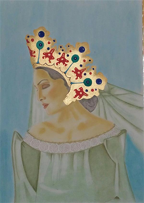 هنر نقاشی و گرافیک محفل نقاشی و گرافیک مینا مهدیزاده فرد تکنیک اثر مدادرنگی آبرنگ و ورق طلا می باشد این اثر از مجموعه 40 سالگی می باشد که عنوان آن زن در آینه می باشد. مجموعه 40 سالگی شامل 30 اثر از تمام احساسات و عواطف هنرمند در 40 سالگی می باشد.