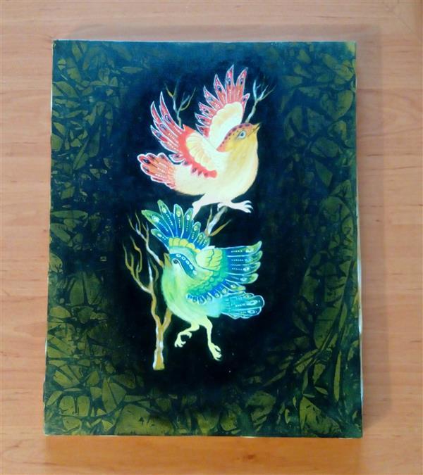 هنر نقاشی و گرافیک محفل نقاشی و گرافیک فاطمه فلاحی #گل و مرغ ،،#اکروليک،،#بوم