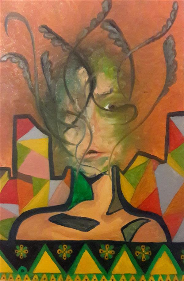هنر نقاشی و گرافیک محفل نقاشی و گرافیک یک دختر هفده ساله رنگ روغن روی بوم ، نام اثر : دختر