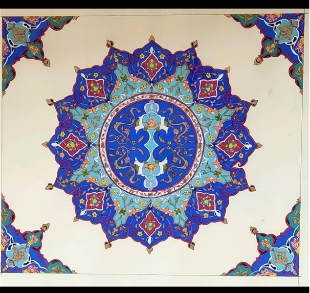 هنر نقاشی و گرافیک محفل نقاشی و گرافیک سیده محبوبه توفیقی نسب  #تذهیب#شمسه در صورت تمایل اثر پاسپارتو و قاب بندی می شود