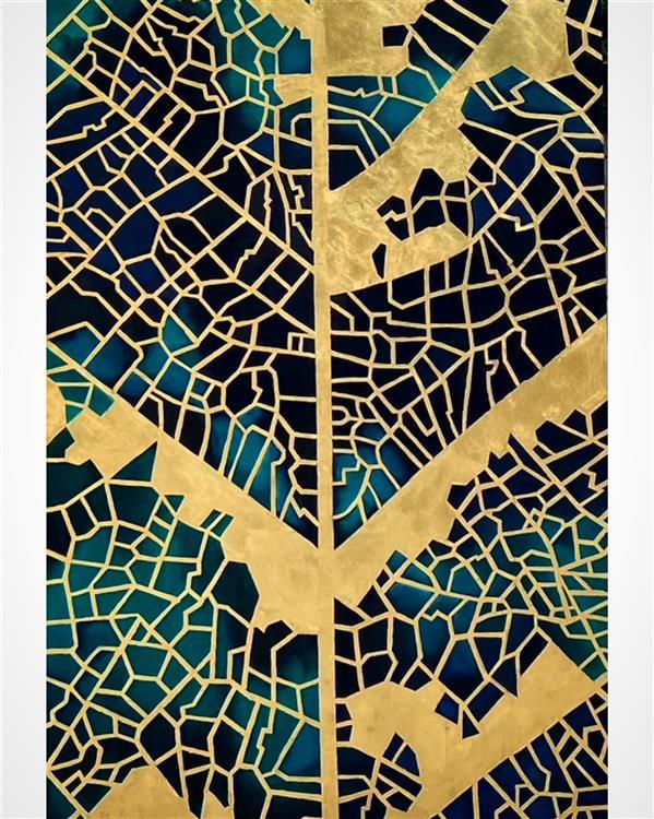 هنر نقاشی و گرافیک محفل نقاشی و گرافیک نگارت تابلو دکوراتیو  طرح برگ #اکریلیک و #ورق_طلا
