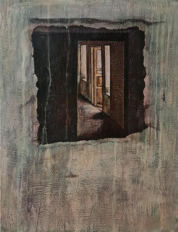 هنر نقاشی و گرافیک محفل نقاشی و گرافیک مریم حیدری رامشه نقاشی، میکس مدیا روی بوم دیپ، ۱۴۰۰، خانه سیاه است#۲، مریم حیدری رامشه