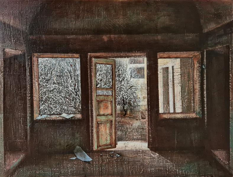 هنر نقاشی و گرافیک محفل نقاشی و گرافیک مریم حیدری رامشه نقاشی، میکس مدیا روی بوم دیپ، ۱۴۰۰، خانه سیاه است#۱، مریم حیدری رامشه