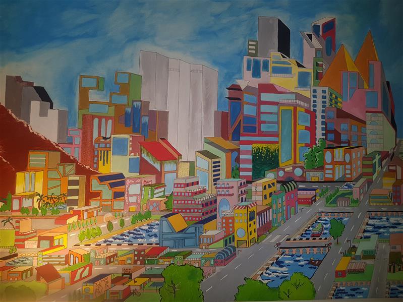 هنر نقاشی و گرافیک محفل نقاشی و گرافیک انیتا محمدی راد #بوم#گواش#۹۸#rainbow city#انیتا محمدی راد