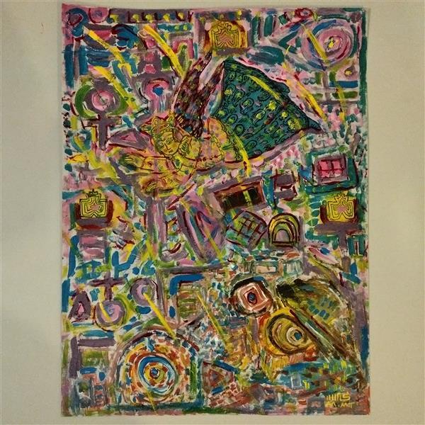 هنر نقاشی و گرافیک محفل نقاشی و گرافیک محمد محمدزاده تیتکانلو فرشته ای بر فراز شهر #رنگ و روغن روی مقوا ۱۳۹۹ اثر #محمدمحمدزاده_تیتکانلو