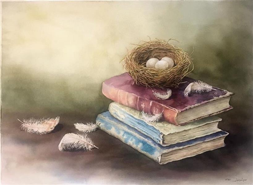هنر نقاشی و گرافیک محفل نقاشی و گرافیک Maryam sheijooni #فقر فرهنگی#کتاب#لانه#پر#