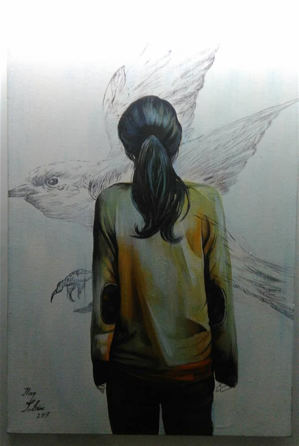 هنر نقاشی و گرافیک محفل نقاشی و گرافیک مریم سلطانی نقاشی مدرن رنگ و روغن روی بوم  رویای کودکی اثر مریم سلطانی  97