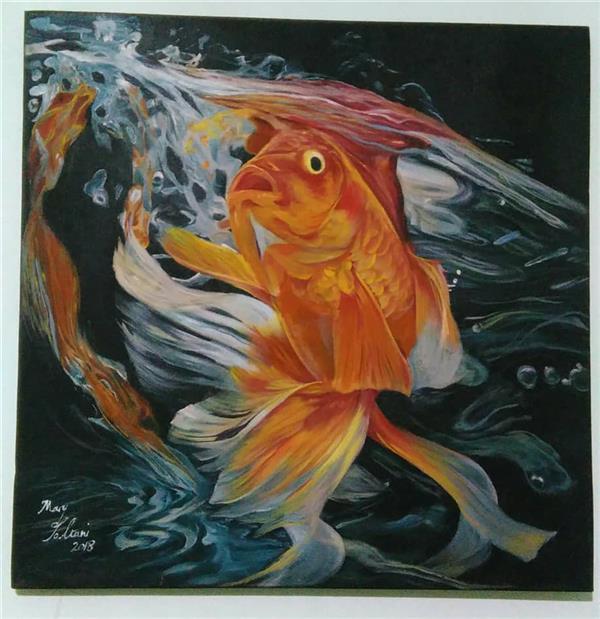 هنر نقاشی و گرافیک محفل نقاشی و گرافیک مریم سلطانی هایپر رئال رنگ و روغن روی بوم 97  ماهی قرمز اثر مریم سلطانی