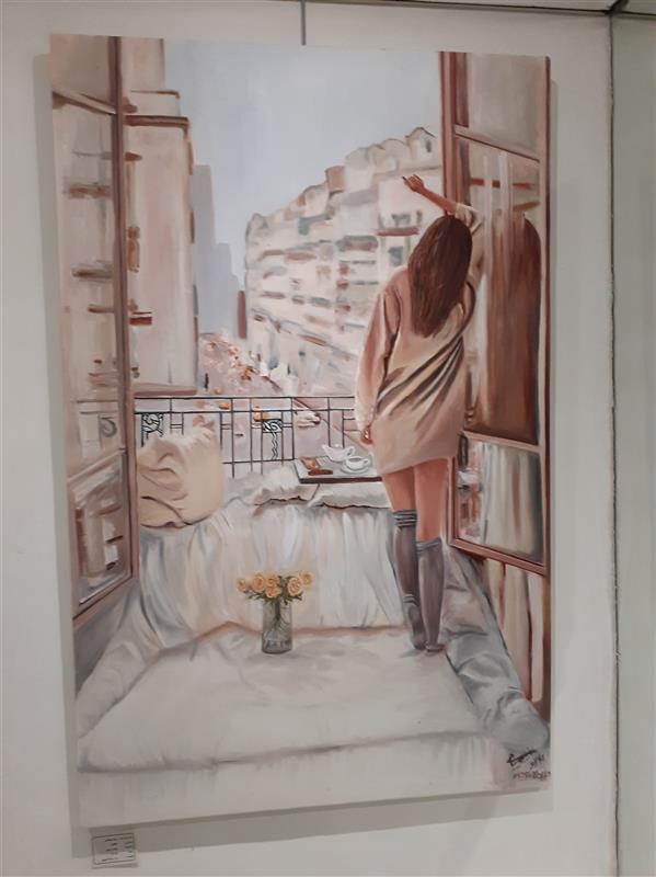 هنر نقاشی و گرافیک محفل نقاشی و گرافیک Dibaji رنگ و روغن روی بوم ، دلتنگی ، زینب دیباجی، آبان ۱۳۹۹