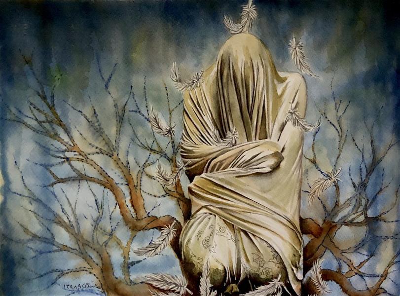 هنر نقاشی و گرافیک محفل نقاشی و گرافیک halleh سایز: A3  متریال: تلفیق مواد روی مقوا نام اثر: سار بیبی خانم ۱ هنرمند: هاله تاجی