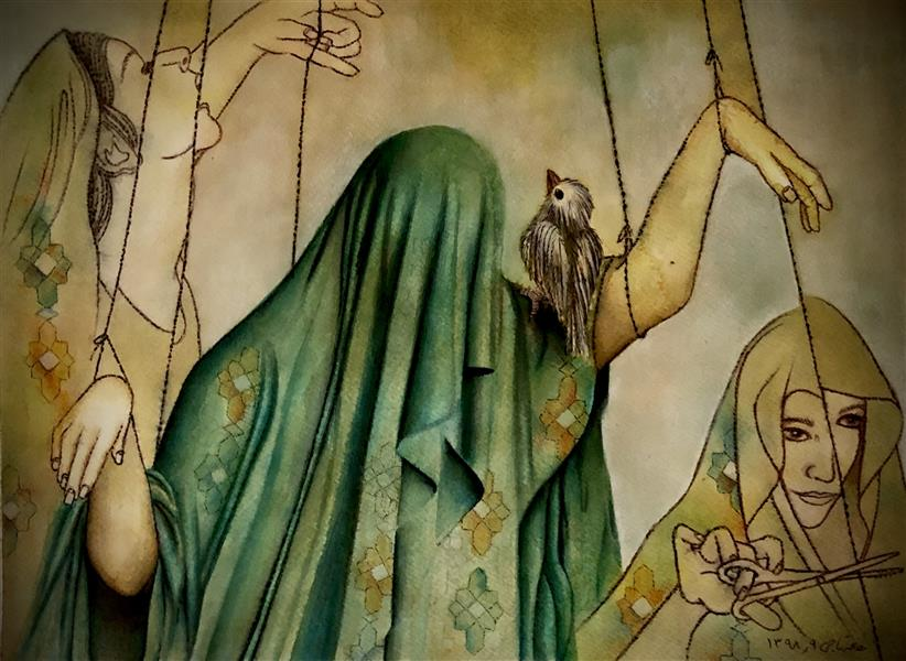 هنر نقاشی و گرافیک محفل نقاشی و گرافیک halleh A3 تلفیق مواد روی مقوا سار بیبی خانم ۲ هاله تاجی
