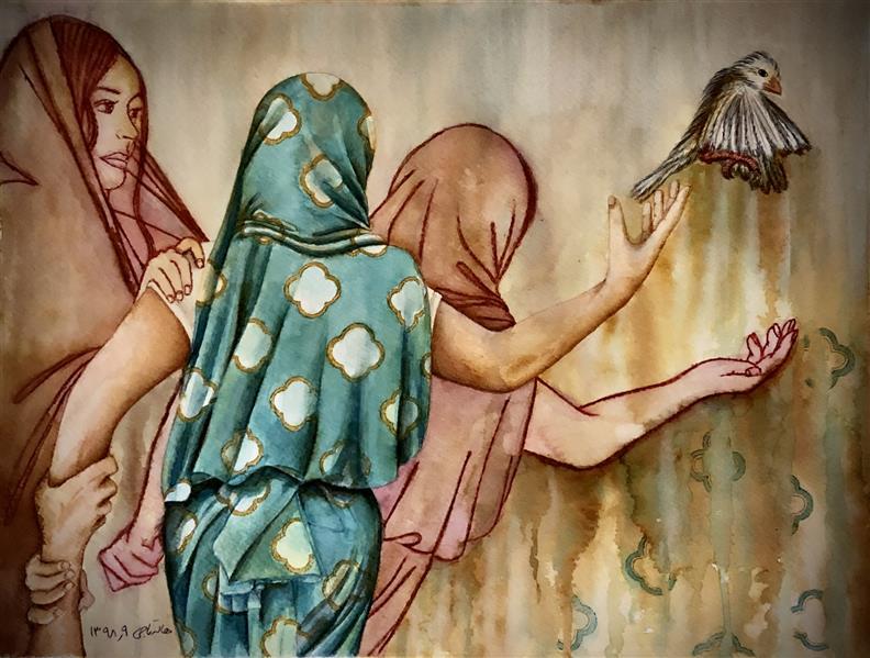 هنر نقاشی و گرافیک محفل نقاشی و گرافیک halleh A3 تلفیق مواد سار بیبی خانم۳ هاله تاجی