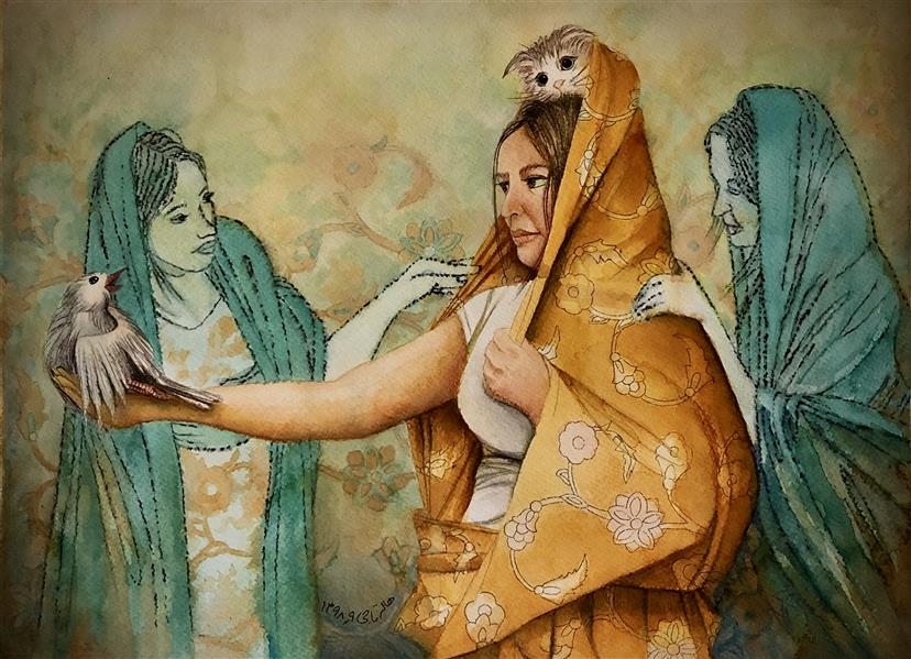 هنر نقاشی و گرافیک محفل نقاشی و گرافیک halleh A3 تلفیق مواد روی مقوا سار بیبی خانم ۴ هاله تاجی