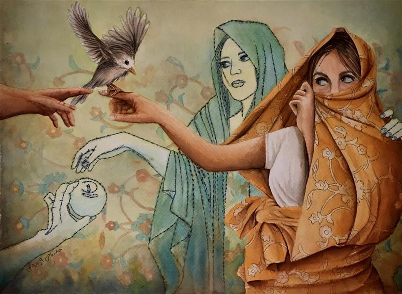 هنر نقاشی و گرافیک محفل نقاشی و گرافیک halleh A3 تلفیق مواد سار بیبی خانم ۵ هاله تاجی