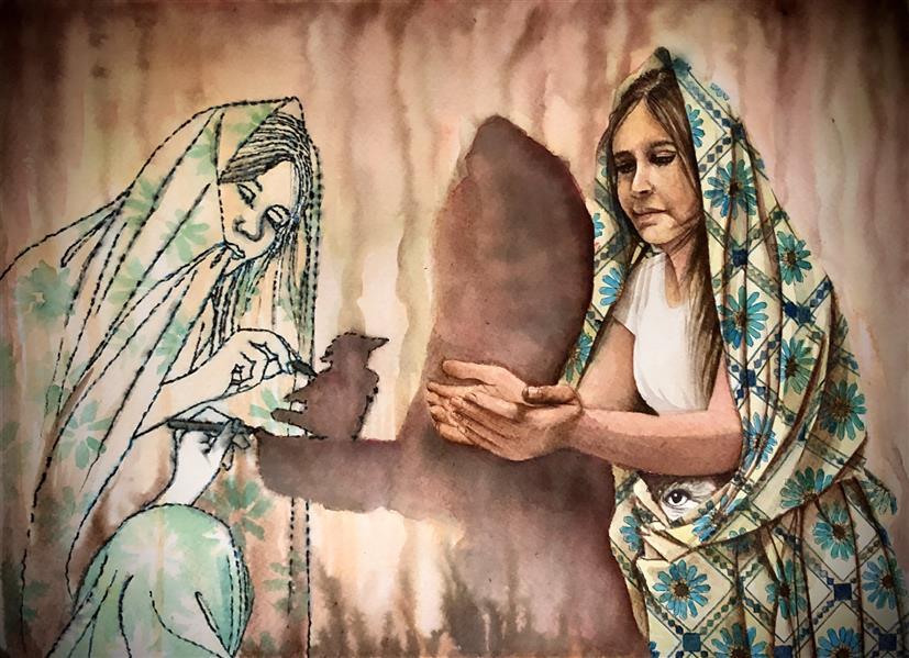 هنر نقاشی و گرافیک محفل نقاشی و گرافیک halleh A3 تلفیق متریال سار بیبی خانم۷ هاله تاجی