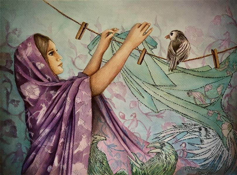 هنر نقاشی و گرافیک محفل نقاشی و گرافیک halleh A3 تلفیق مواد سار بیبی خانم ۸ هاله تاجی