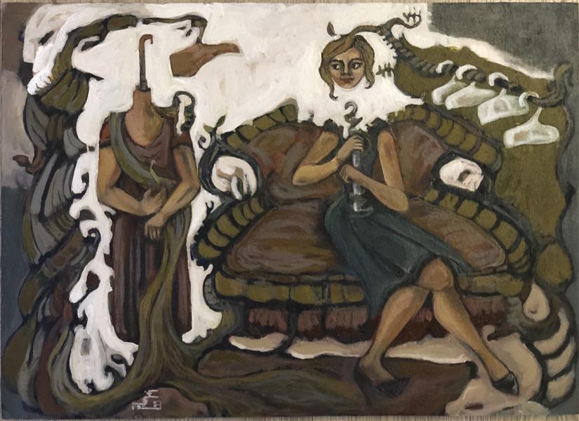 هنر نقاشی و گرافیک محفل نقاشی و گرافیک زهره صادقی اکرلیک#۱۳۹۹#زنان چوب لباسی#زهره صادقی