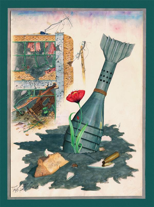 هنر نقاشی و گرافیک محفل نقاشی و گرافیک علی جاپلقیان نقاشی مفهومی ،آبرنگ ،1367 ،بازگشت زندگی به خرمشهر .اثر علی جاپَلَقیان