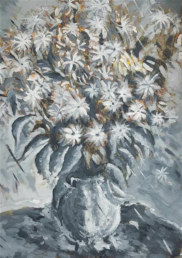 هنر نقاشی و گرافیک محفل نقاشی و گرافیک مجید قراگوزلو نقاشی.رنگ روغن رو مقوا.سال1398.نام اثرگلدان گل.مجید قراگوزلو