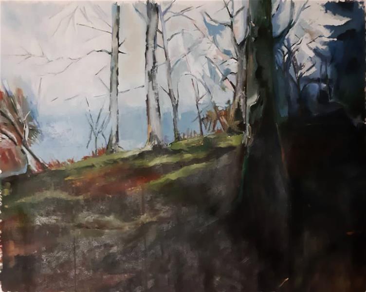 هنر نقاشی و گرافیک محفل نقاشی و گرافیک مجید قراگوزلو نقاشی رنگ روغن رو بوم.سال1396.نام اثر زمستان جنگل.امپرسیون.مجید قراگوزلو