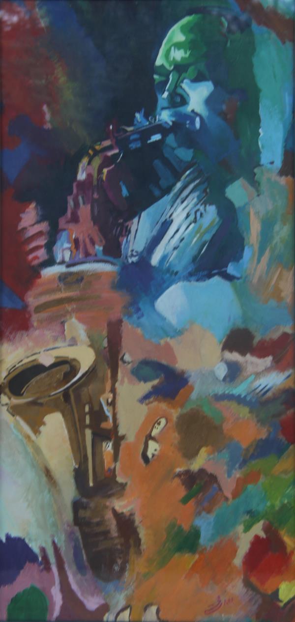 هنر نقاشی و گرافیک محفل نقاشی و گرافیک مجید قراگوزلو نقاشی رنگ روغن.سال1380.نام اثر نوازنده.مجید قراگوزلو