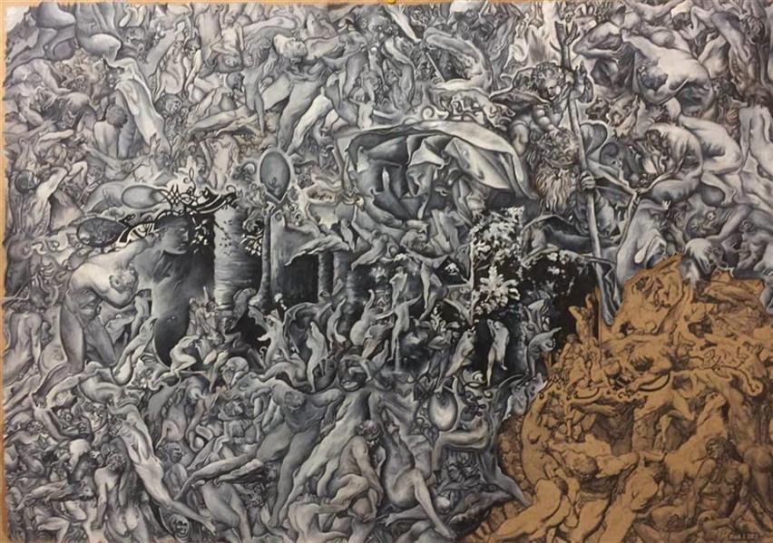 هنر نقاشی و گرافیک محفل نقاشی و گرافیک مجید قراگوزلو #نقاشی، #رنگ روغن روی مقوا، # سال:1396،#نام اثر:خیر و شر،#مجید قراگوزلو