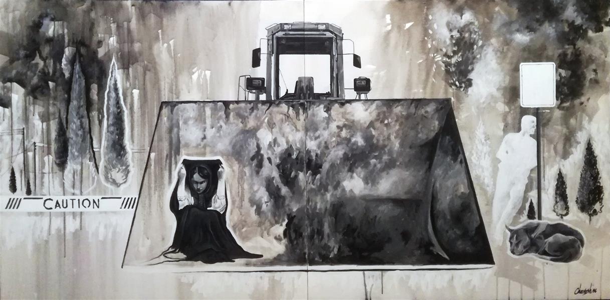 هنر نقاشی و گرافیک محفل نقاشی و گرافیک ایمان چاوش  نقاشی ،اکریلیک روی بوم، 1396،انسان معاصر،ایمان چاوش