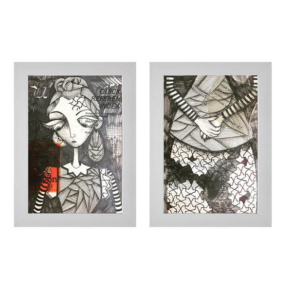 هنر نقاشی و گرافیک محفل نقاشی و گرافیک ف شیری #کلاژ #مقوا #۱۳۹۹ #پرتره از نگاه هنرمند #ف- شیری