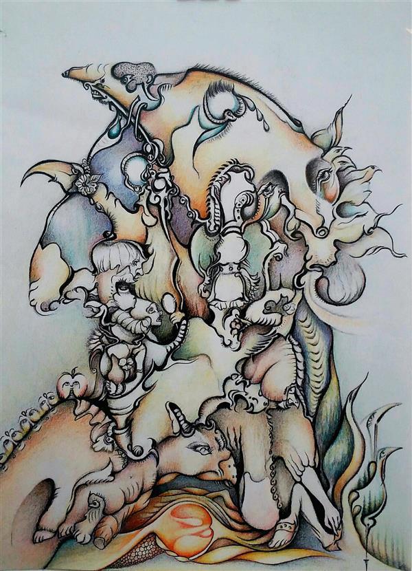 هنر نقاشی و گرافیک محفل نقاشی و گرافیک پروین فلاحی پروین فلاحی #عنوان: بادنیای انسانها غریبم #مدادرنگی وراپید روی سطح کاغذ #سال 13400