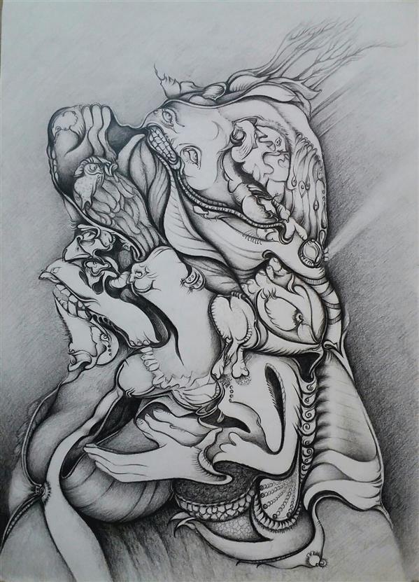 هنر نقاشی و گرافیک محفل نقاشی و گرافیک پروین فلاحی پروین فلاحی #بادنیای انسانها غریبم #طراحی روی سطح کاغذ # سال1400
