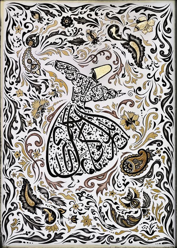 هنر نقاشی و گرافیک محفل نقاشی و گرافیک پریسا فرشباف تکنیک #سیاه قلم و #مداد رنگی و ورق طلا ۱۴۰۰ #رقص سما پریسا فرشباف
