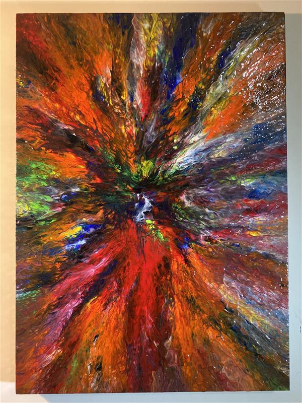 هنر نقاشی و گرافیک محفل نقاشی و گرافیک دانیال راد نقاشى مدرن با رنگ اكريليك ، اجرا روى بوم  خالق اثر ؛ دانیال راد نام اثر ؛ پرتو رنگ ها