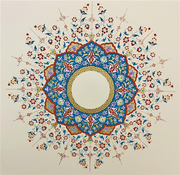 هنر نقاشی و گرافیک محفل نقاشی و گرافیک Marya baghaei  #طراحی #تذهیب #شمسه ترکیبی از گل های #ختایی و #اسلیمی روی مقوا ماکت با تکنیک #گواش
