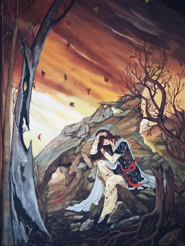 هنر نقاشی و گرافیک محفل نقاشی و گرافیک لیلا  #لیلا_رضایی #غروب #تنها #غم #شکسته #نقاشی #رنگ_روغن #هنر