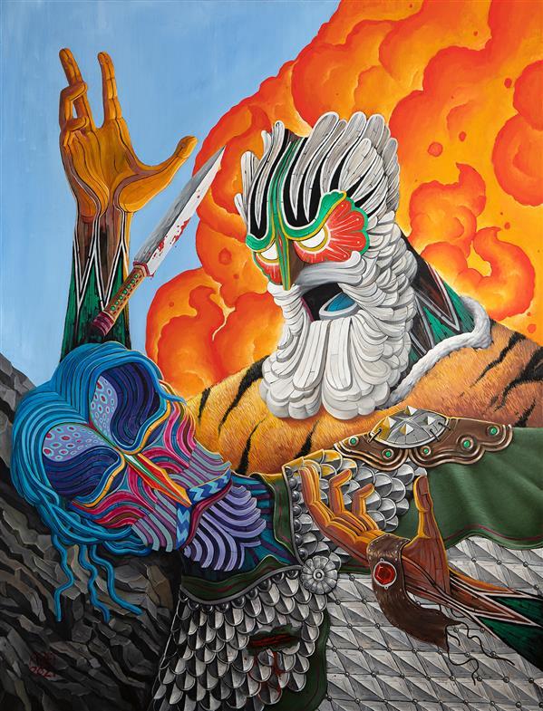 هنر نقاشی و گرافیک محفل نقاشی و گرافیک عارف نیازی رستم و سهراب رنگ روغن روی بوم ابعاد : ۱۷۰ در ۱۳۰ سانتیمتر زمستان ۱۳۹۹