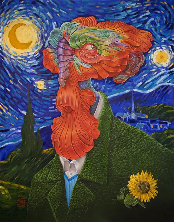 هنر نقاشی و گرافیک محفل نقاشی و گرافیک عارف نیازی در ستایش ونگوگ نسخه دوم رنگ روغن روی بوم ۱۷۰ × ۱۳۰ سانتیمتر عارف نیازی ، ۱۳۹۸