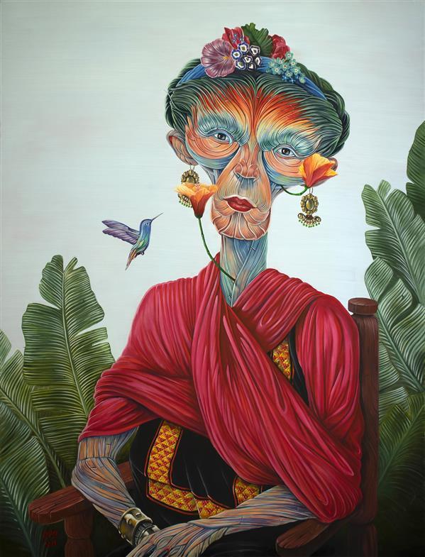 """هنر نقاشی و گرافیک محفل نقاشی و گرافیک عارف نیازی فریدا ، رویش"""" (پرتره فریدا کالو، نقاش مکزیکی) آبعاد: 170×130 سانتی متر تکنیک: رنگ روغن روی بوم"""