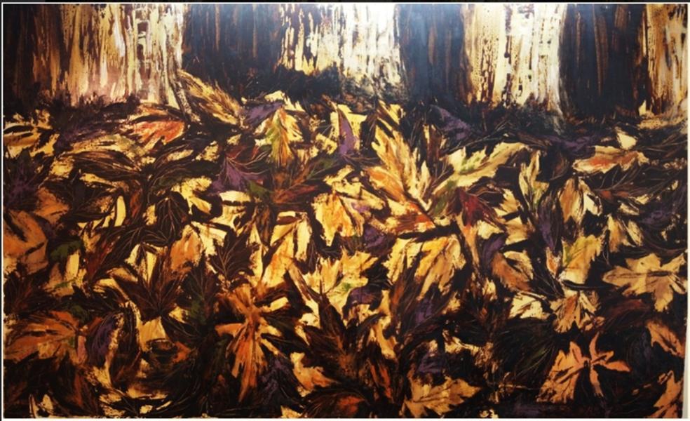 هنر نقاشی و گرافیک محفل نقاشی و گرافیک راحله مهنام نیا #بوم #رنگ روغن #۱۳۹۱ #برگریزان #راحله مهنام نیا #طبیعت #پاییز #درخت #خزان #برگ #درختان #زمین #نور #رنگ #طلایی #فصل