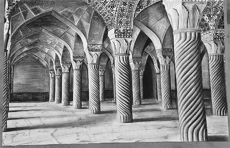 هنر نقاشی و گرافیک محفل نقاشی و گرافیک لیلا اکبری سیاه قلم کار با زغال  مسجد نصیر الملک لیلا اکبری