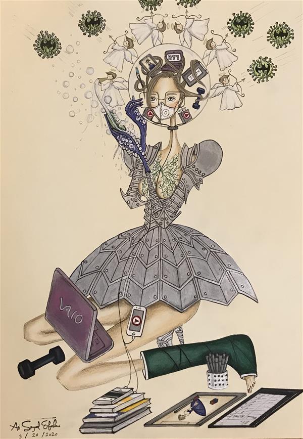 هنر نقاشی و گرافیک محفل نقاشی و گرافیک Ati Seyedesfehani مقوا  ماژیک ،مدادرنگی ،راپید  ۱۳۹۸ کورونا(CoWoman) آتی سیداصفهانی
