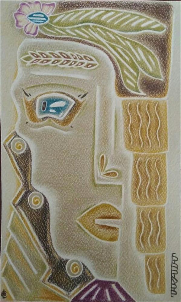 هنر نقاشی و گرافیک محفل نقاشی و گرافیک طراوت حیرتی مدادرنگی روی مقوا 1400 طراوت حیرتی  #هنر_مدرن #کوبیسم #اورجینال #بژ #خردلی #خاکستری