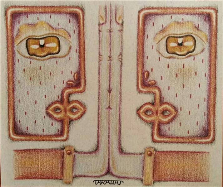 هنر نقاشی و گرافیک محفل نقاشی و گرافیک طراوت حیرتی فرجام، مدادرنگی روی مقوا مرداد 1400 طراوت حیرتی  اثر اورجینال_امضا دارد #پلی_کروم #مفهومی #کوبیسم