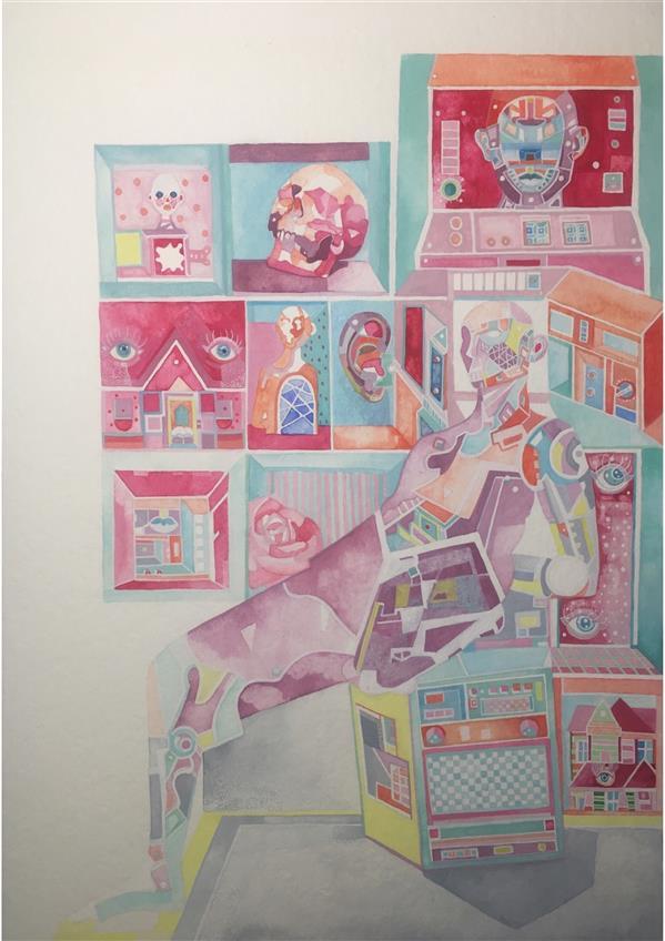 هنر نقاشی و گرافیک محفل نقاشی و گرافیک zahra-m #آبرنگ #watercolor #مقوا art#هنر#artist# #A4