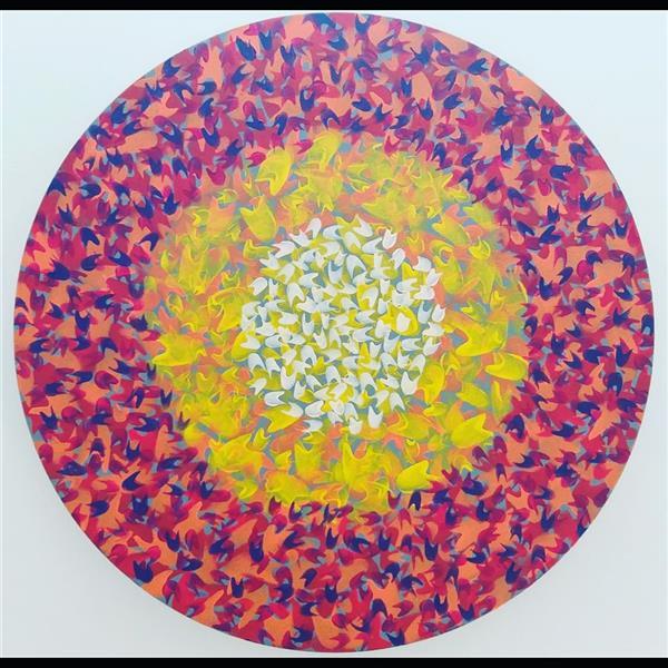 هنر نقاشی و گرافیک محفل نقاشی و گرافیک گلچهره روحانی #اکرولیک روی بوم دایره #گلچهره روحانی #سال ۱۴۰۰ #بدون عنوان