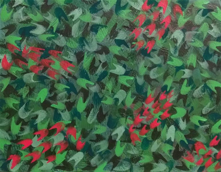 هنر نقاشی و گرافیک محفل نقاشی و گرافیک گلچهره روحانی #اکرولیک روی بوم #باغچه کوچک من #گلچهره روحانی #سال ۱۴۰۰